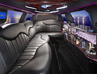 Lavish Interior of Stretch Limousine for Great Limousine Service Experience